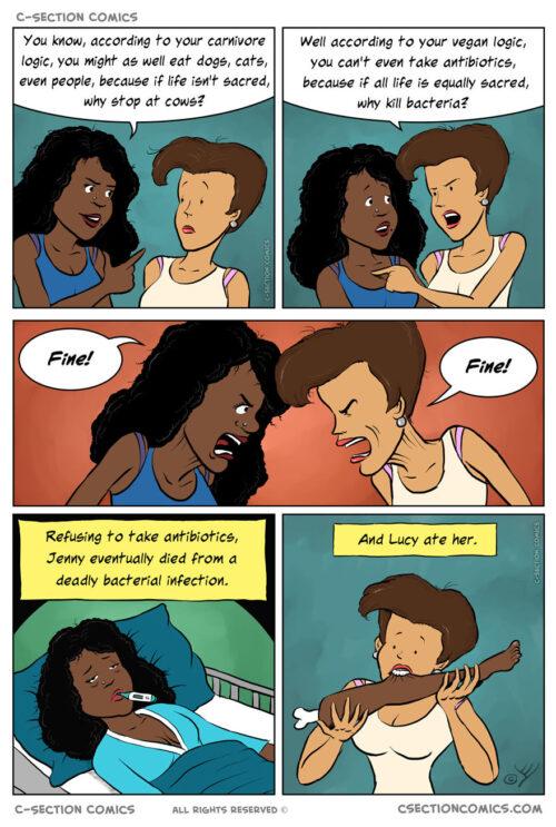 Vegan fight comic